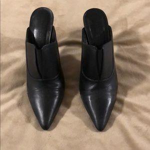 Jenni Kayne black high heeled loafer mules